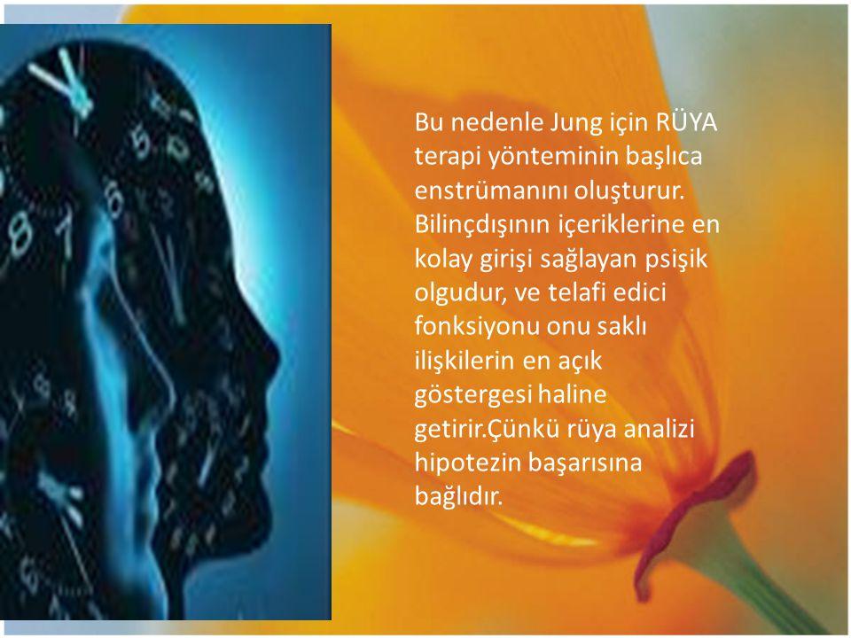 Bu nedenle Jung için RÜYA terapi yönteminin başlıca enstrümanını oluşturur.