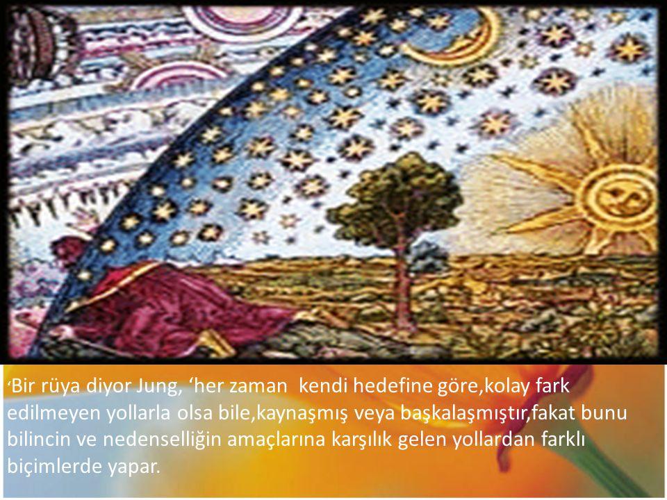 'Bir rüya diyor Jung, 'her zaman kendi hedefine göre,kolay fark edilmeyen yollarla olsa bile,kaynaşmış veya başkalaşmıştır,fakat bunu bilincin ve nedenselliğin amaçlarına karşılık gelen yollardan farklı biçimlerde yapar.