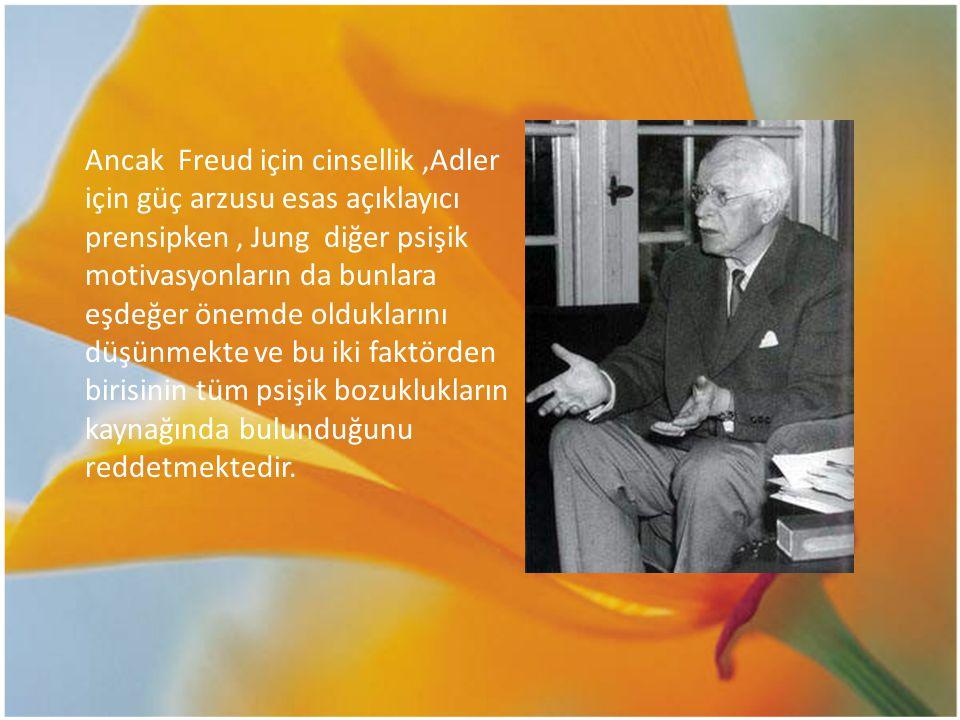 Ancak Freud için cinsellik ,Adler için güç arzusu esas açıklayıcı prensipken , Jung diğer psişik motivasyonların da bunlara eşdeğer önemde olduklarını düşünmekte ve bu iki faktörden birisinin tüm psişik bozuklukların kaynağında bulunduğunu reddetmektedir.