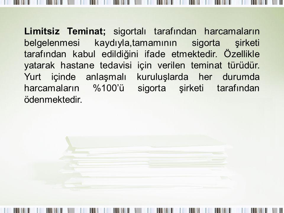 Limitsiz Teminat; sigortalı tarafından harcamaların belgelenmesi kaydıyla,tamamının sigorta şirketi tarafından kabul edildiğini ifade etmektedir.