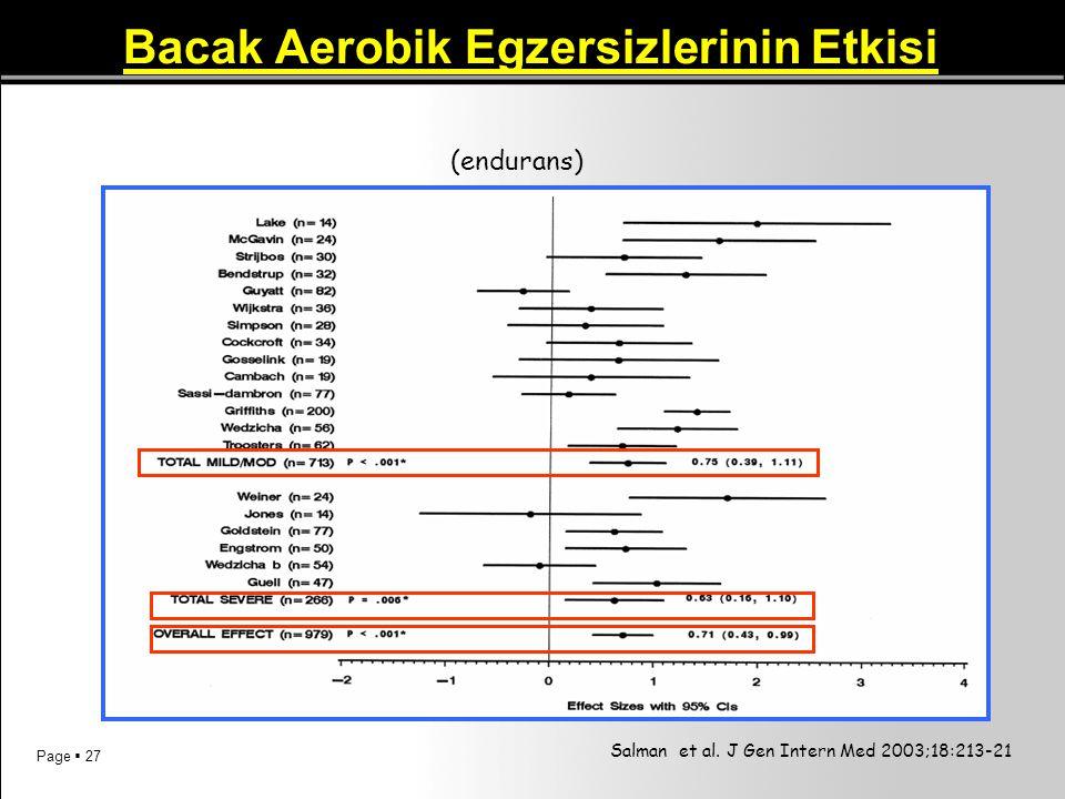 Bacak Aerobik Egzersizlerinin Etkisi