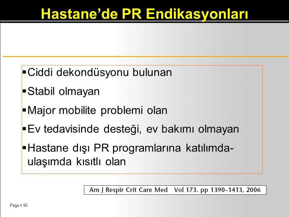 Hastane'de PR Endikasyonları