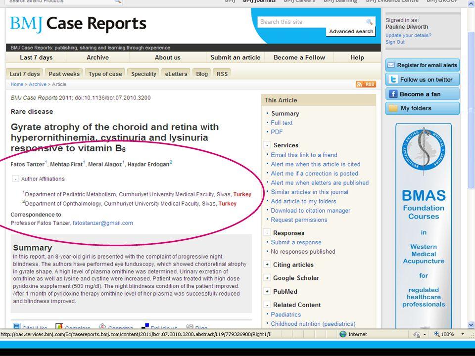 BMJ Case Reportslara kurumsal abonelik ile kullanıcılar online giriş sistemini kullanarak istedikleri kadar durum raporu girebilirler. Bu da kullanıcıları tespit ettikleri durumları yayımlamak için cesaretlendirir. Bu durum raporları BMJ'deki 200 editoryal hekim tarafından incelenir, kanıt değeri taşıyan durumlar yayımlanır. Her ay 200 den fazla inceleme yayımlanmak üzere kabul edilir. Bu da BMJ'e gelen durumların %80 inin kabul edildigini göstermektedir.