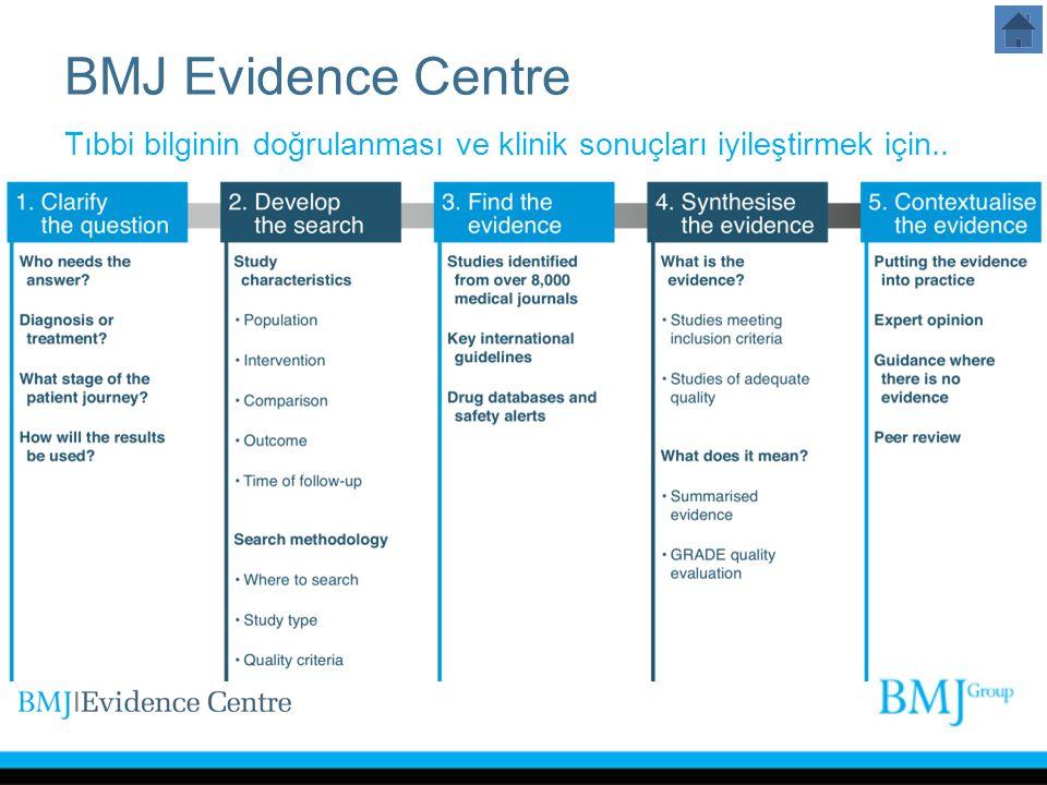 10/04/09 BMJ Evidence Centre. Tıbbi bilginin doğrulanması ve klinik sonuçları iyileştirmek için..