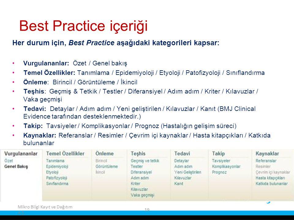 Best Practice içeriği Her durum için, Best Practice aşağıdaki kategorileri kapsar: Vurgulananlar: Özet / Genel bakış.
