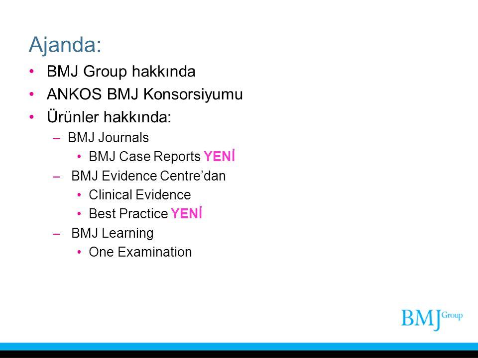 Ajanda: BMJ Group hakkında ANKOS BMJ Konsorsiyumu Ürünler hakkında: