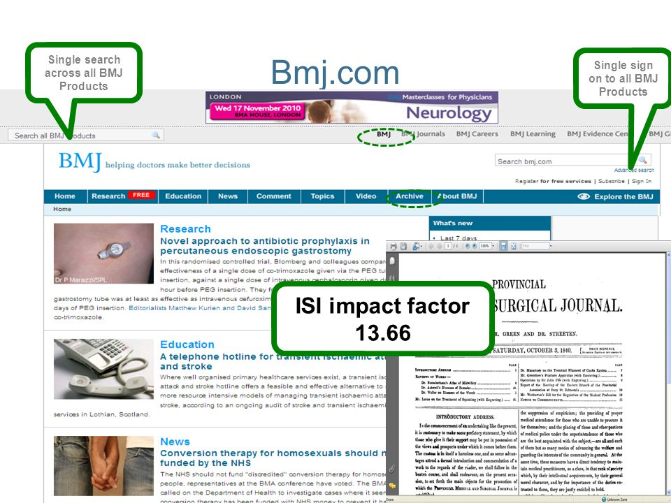 Bmj.com ISI impact factor 13.66 Single search across all BMJ Products