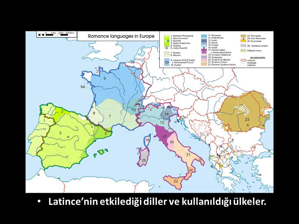 Latince'nin etkilediği diller ve kullanıldığı ülkeler.