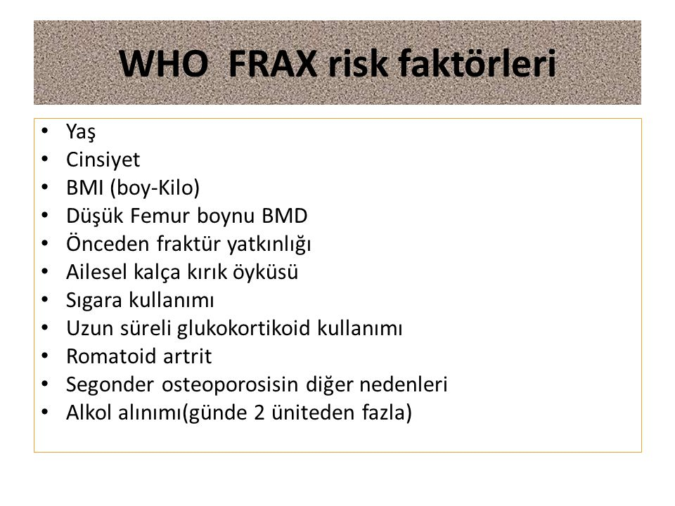WHO FRAX risk faktörleri