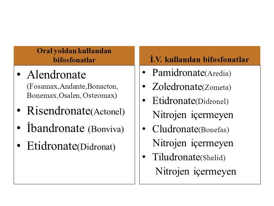 Oral yoldan kullanılan bifosfonatlar İ.V. kullanılan bifosfonatlar