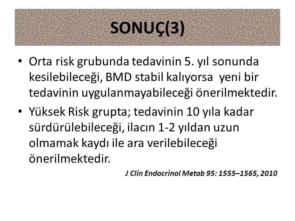 SONUÇ(3) Orta risk grubunda tedavinin 5. yıl sonunda kesilebileceği, BMD stabil kalıyorsa yeni bir tedavinin uygulanmayabileceği önerilmektedir.