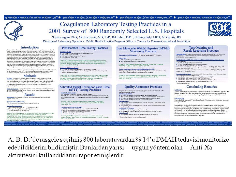 A. B. D.'de rasgele seçilmiş 800 laboratuvardan % 14'ü DMAH tedavisi monitörize