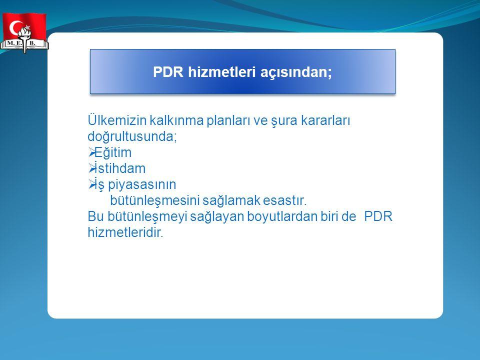 PDR hizmetleri açısından;