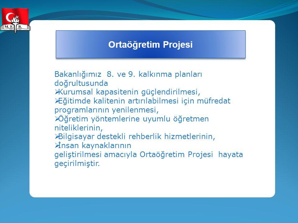 Ortaöğretim Projesi Bakanlığımız 8. ve 9. kalkınma planları doğrultusunda. Kurumsal kapasitenin güçlendirilmesi,