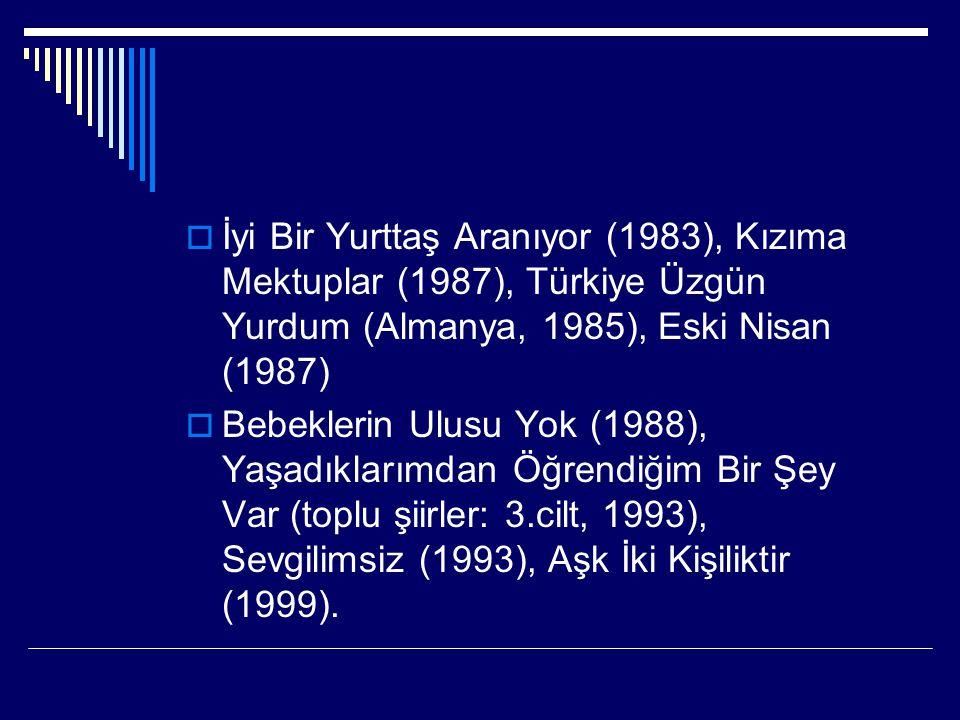 İyi Bir Yurttaş Aranıyor (1983), Kızıma Mektuplar (1987), Türkiye Üzgün Yurdum (Almanya, 1985), Eski Nisan (1987)