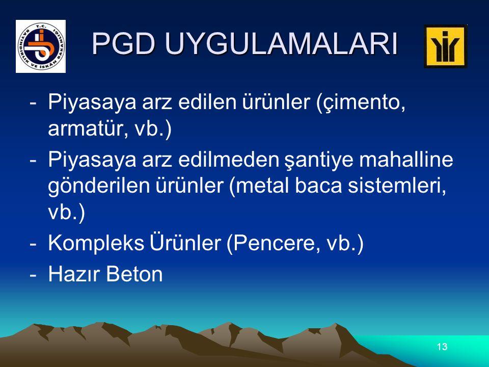 PGD UYGULAMALARI Piyasaya arz edilen ürünler (çimento, armatür, vb.)