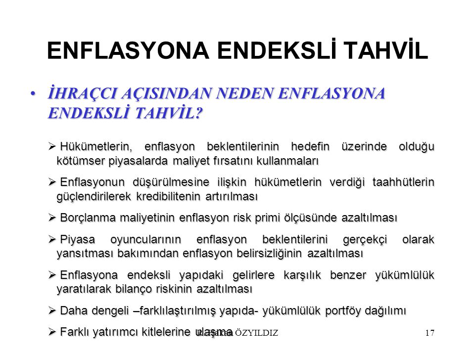 ENFLASYONA ENDEKSLİ TAHVİL