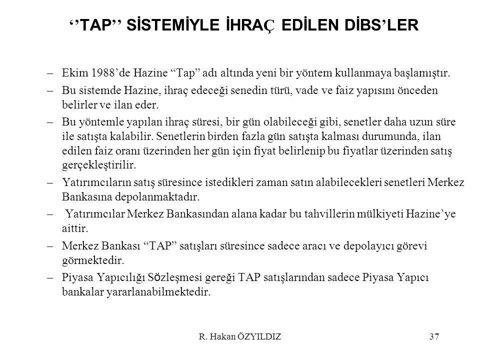 ''TAP'' SİSTEMİYLE İHRAÇ EDİLEN DİBS'LER