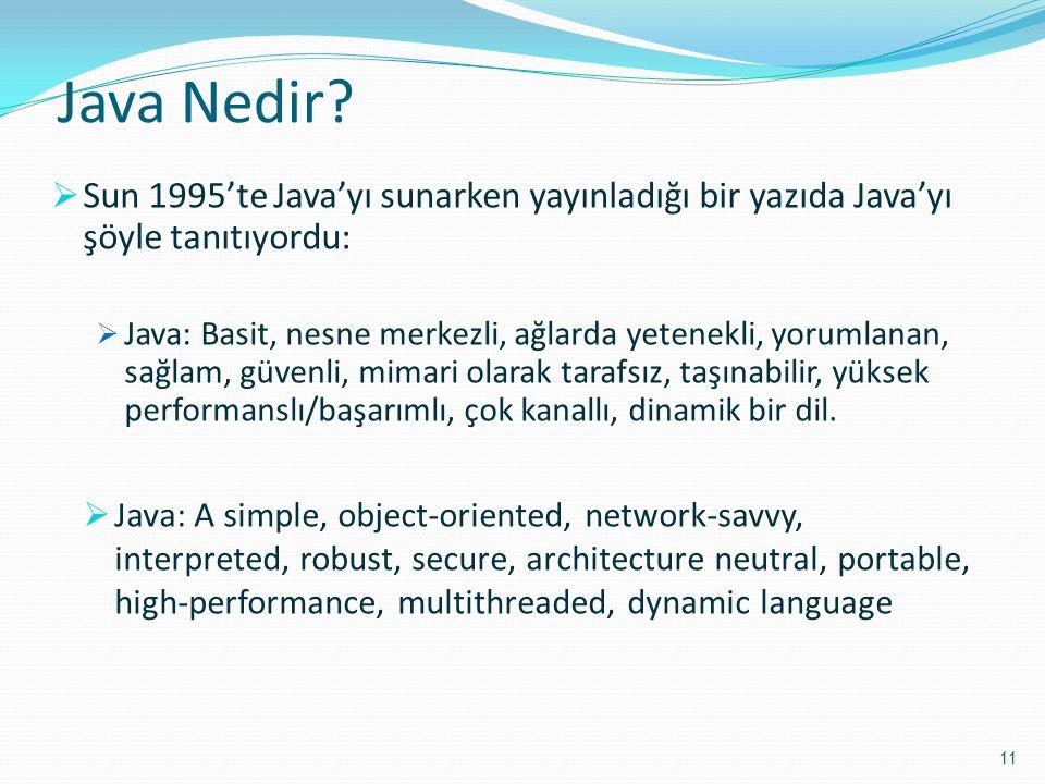 Java Nedir Sun 1995'te Java'yı sunarken yayınladığı bir yazıda Java'yı şöyle tanıtıyordu: