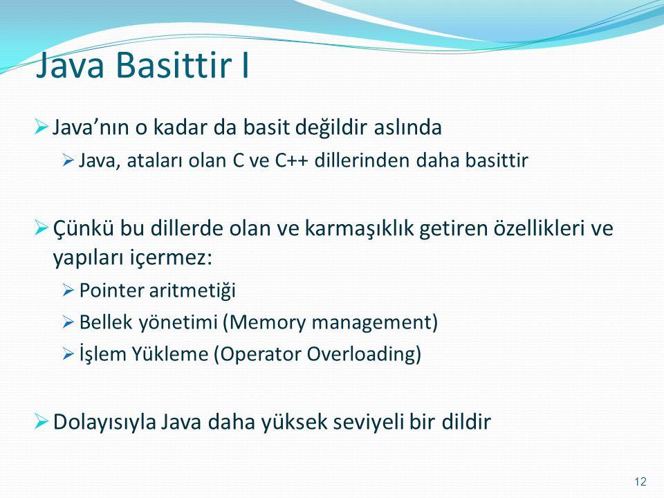 Java Basittir I Java'nın o kadar da basit değildir aslında