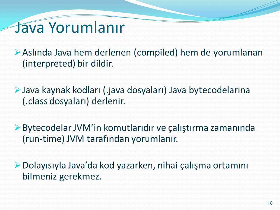 Java Yorumlanır Aslında Java hem derlenen (compiled) hem de yorumlanan (interpreted) bir dildir.