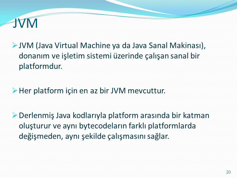 JVM JVM (Java Virtual Machine ya da Java Sanal Makinası), donanım ve işletim sistemi üzerinde çalışan sanal bir platformdur.