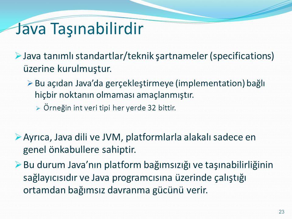 Java Taşınabilirdir Java tanımlı standartlar/teknik şartnameler (specifications) üzerine kurulmuştur.