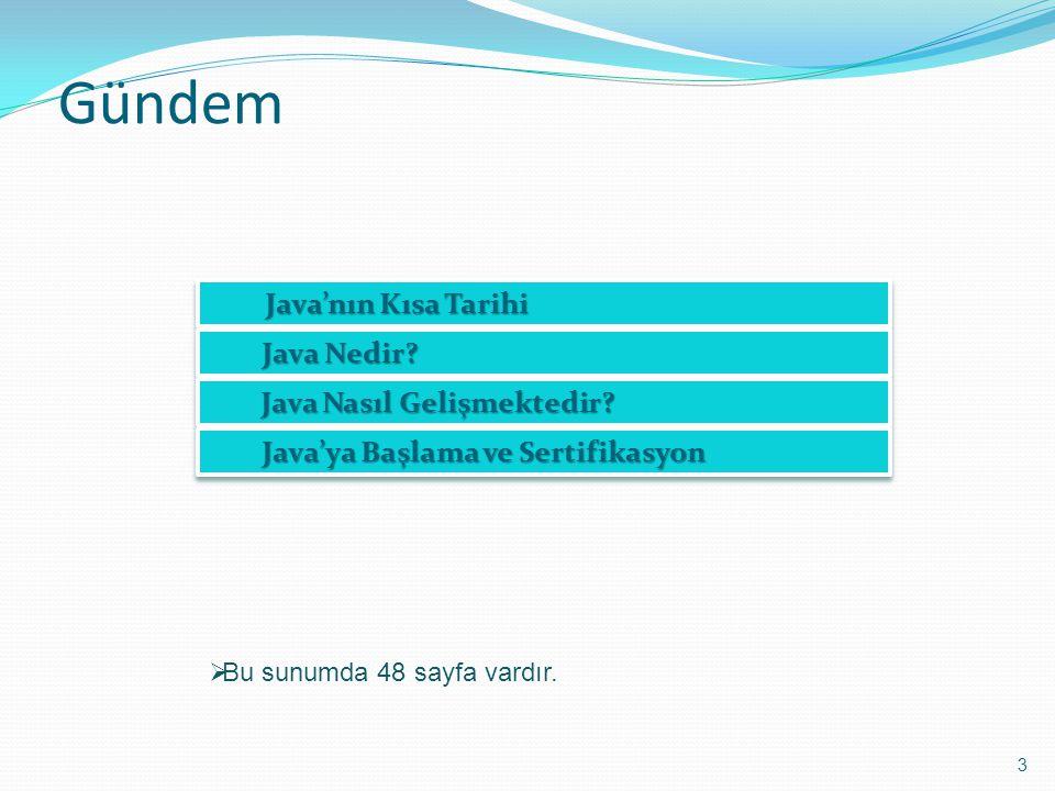 Gündem Java'nın Kısa Tarihi Java Nedir Java Nasıl Gelişmektedir