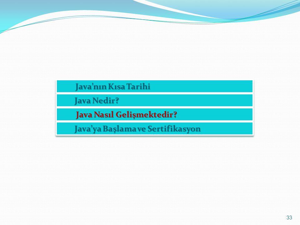 Java'nın Kısa Tarihi Java Nedir Java Nasıl Gelişmektedir Java'ya Başlama ve Sertifikasyon