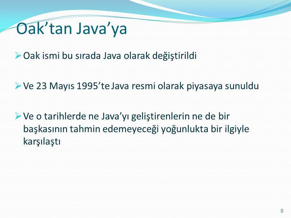 Oak'tan Java'ya Oak ismi bu sırada Java olarak değiştirildi