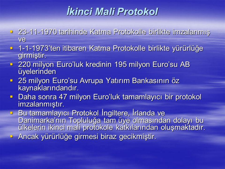 İkinci Mali Protokol 23-11-1970 tarihinde Katma Protokolle birlikte imzalanmış ve.