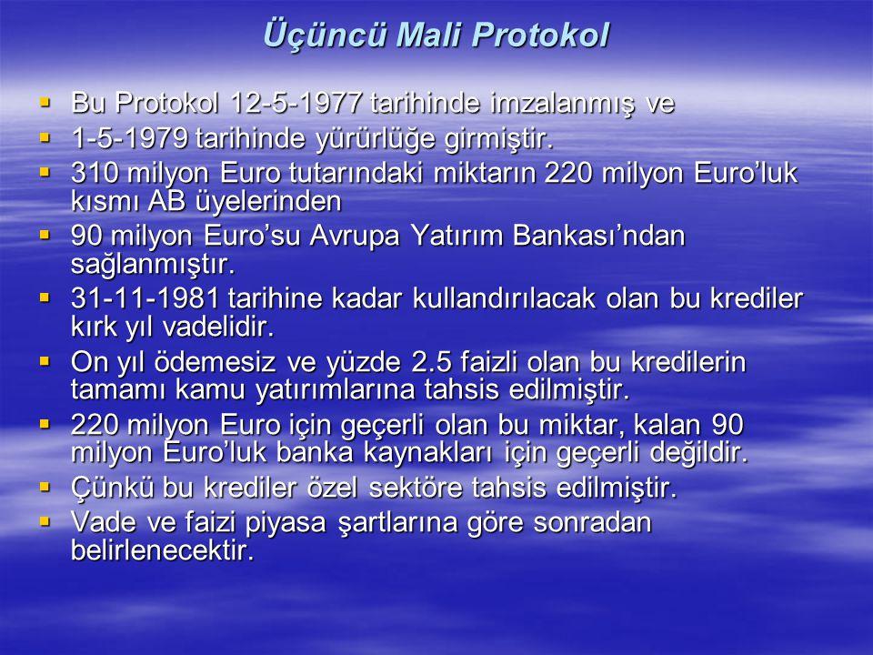 Üçüncü Mali Protokol Bu Protokol 12-5-1977 tarihinde imzalanmış ve