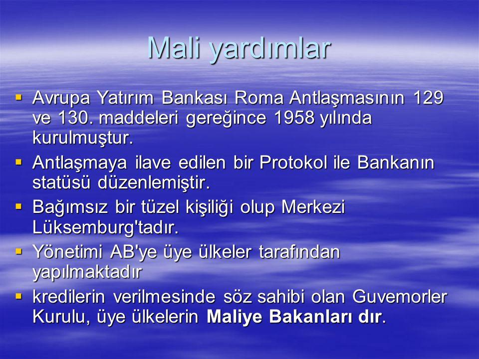 Mali yardımlar Avrupa Yatırım Bankası Roma Antlaşmasının 129 ve 130. maddeleri gereğince 1958 yılında kurulmuştur.