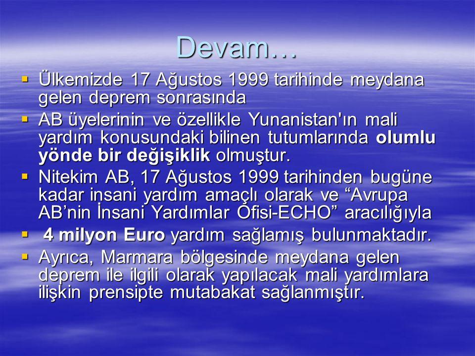 Devam… Ülkemizde 17 Ağustos 1999 tarihinde meydana gelen deprem sonrasında.
