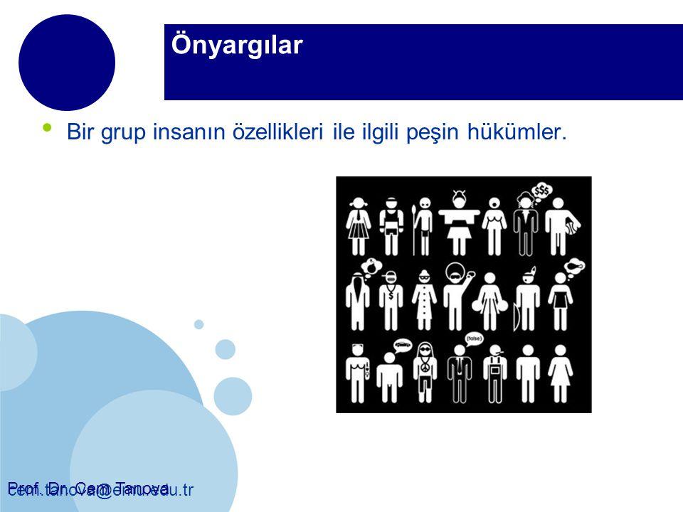 Önyargılar Bir grup insanın özellikleri ile ilgili peşin hükümler.