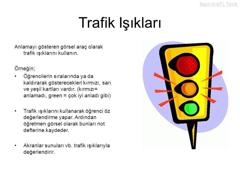 Back to AFL Tools Trafik Işıkları. Anlamayı gösteren görsel araç olarak trafik ışıklarını kullanın.