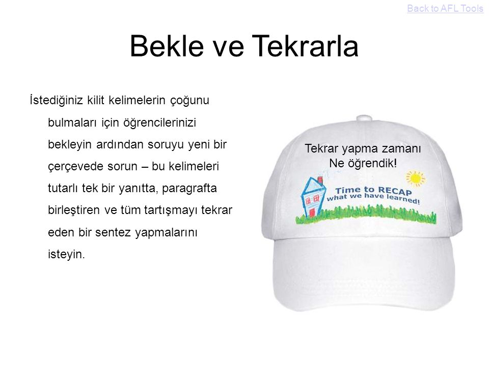 Back to AFL Tools Bekle ve Tekrarla.