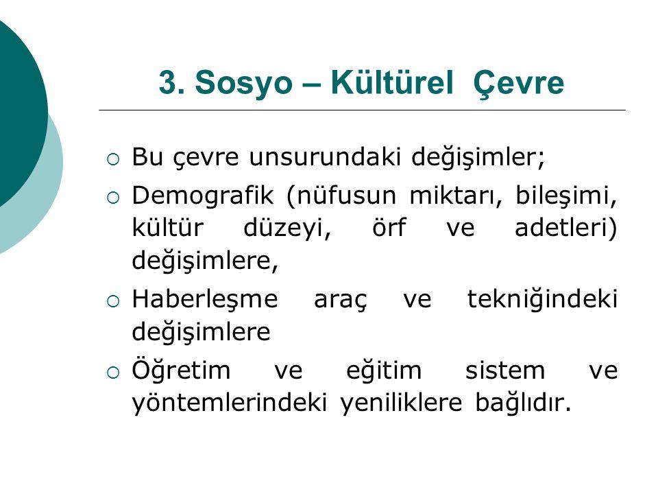 3. Sosyo – Kültürel Çevre Bu çevre unsurundaki değişimler;