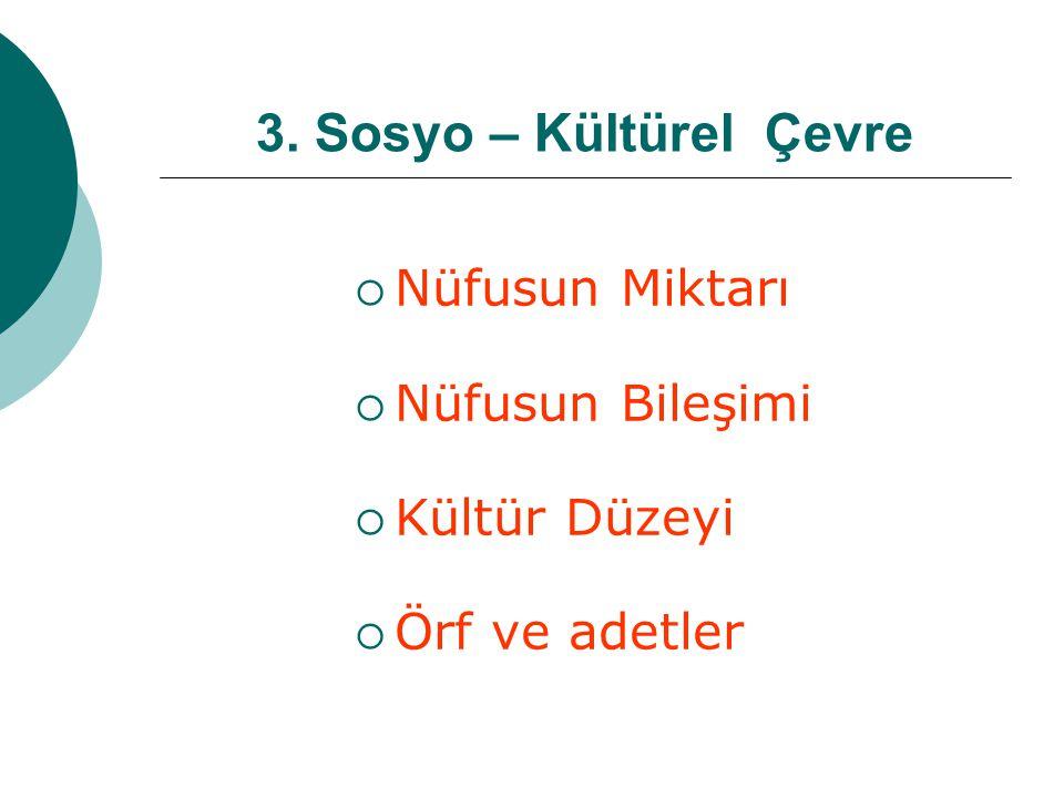 3. Sosyo – Kültürel Çevre Nüfusun Miktarı Nüfusun Bileşimi