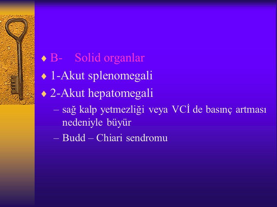 B- Solid organlar 1-Akut splenomegali 2-Akut hepatomegali