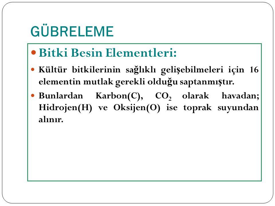 GÜBRELEME Bitki Besin Elementleri: