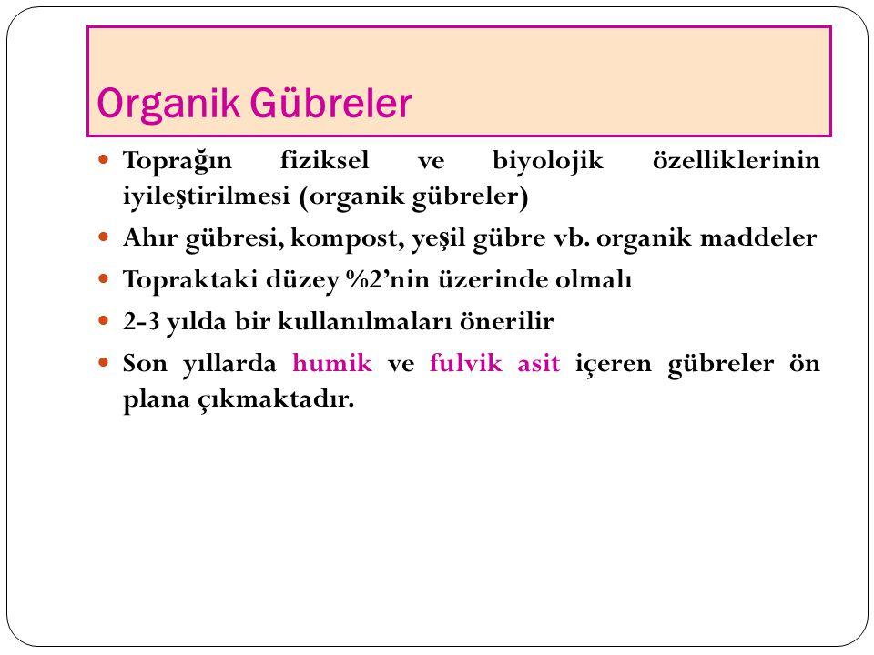 Organik Gübreler Toprağın fiziksel ve biyolojik özelliklerinin iyileştirilmesi (organik gübreler)