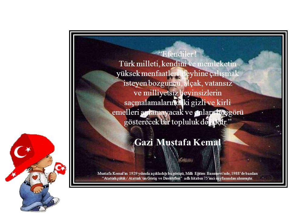 Gazi Mustafa Kemal Efendiler ! Türk milleti, kendini ve memleketin