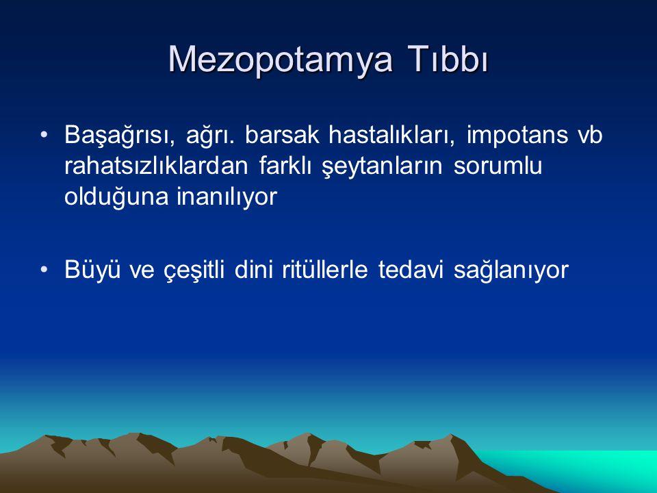 Mezopotamya Tıbbı Başağrısı, ağrı. barsak hastalıkları, impotans vb rahatsızlıklardan farklı şeytanların sorumlu olduğuna inanılıyor.