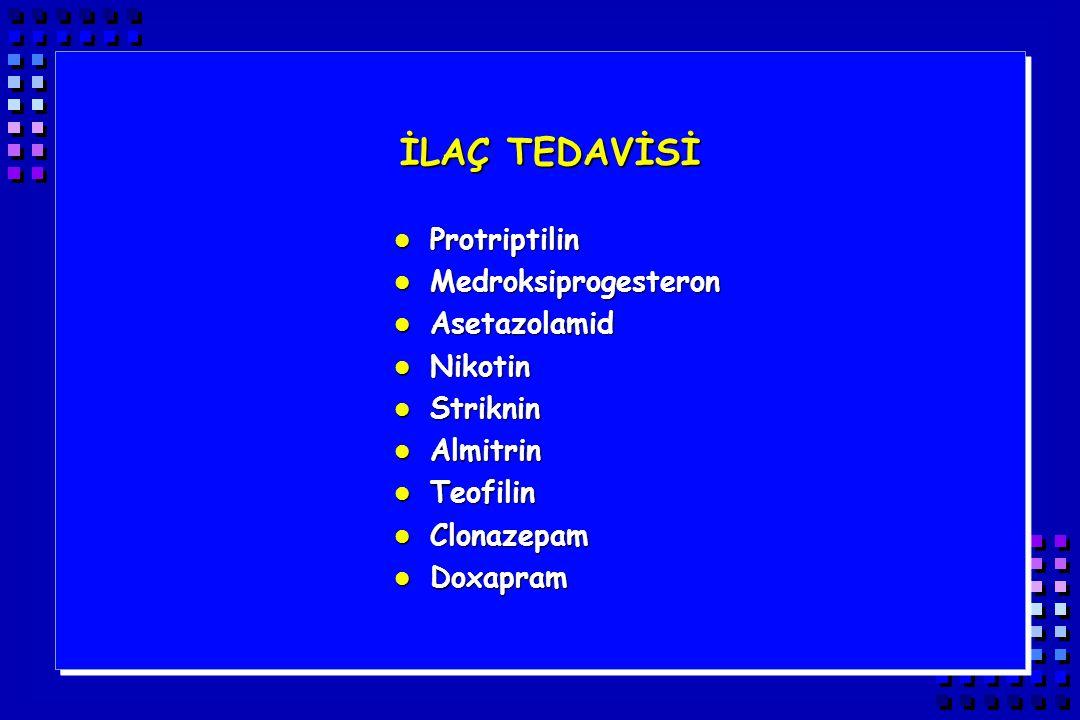 İLAÇ TEDAVİSİ Protriptilin Medroksiprogesteron Asetazolamid Nikotin