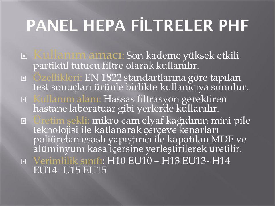 PANEL HEPA FİLTRELER PHF