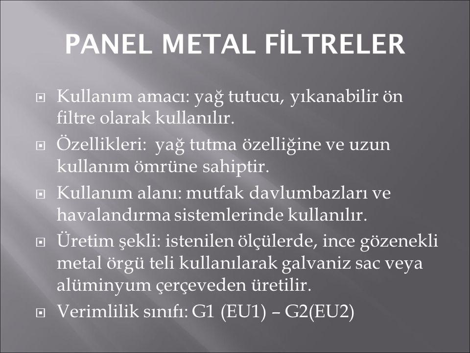 PANEL METAL FİLTRELER Kullanım amacı: yağ tutucu, yıkanabilir ön filtre olarak kullanılır.