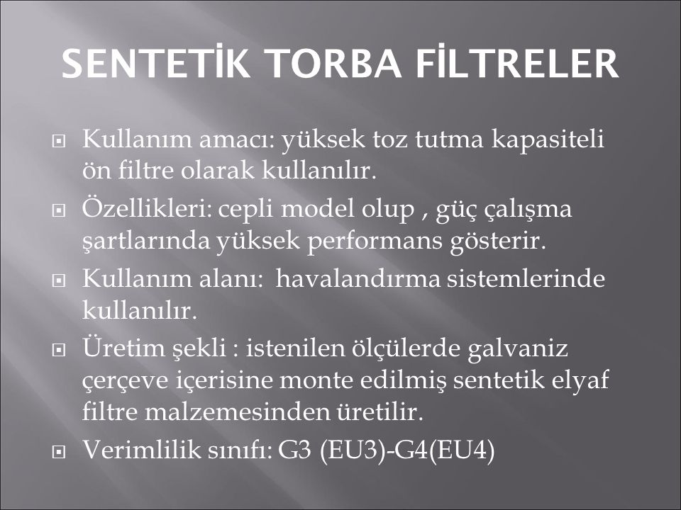 SENTETİK TORBA FİLTRELER