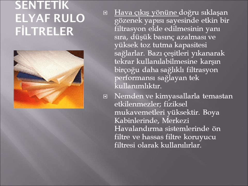 SENTETİK ELYAF RULO FİLTRELER