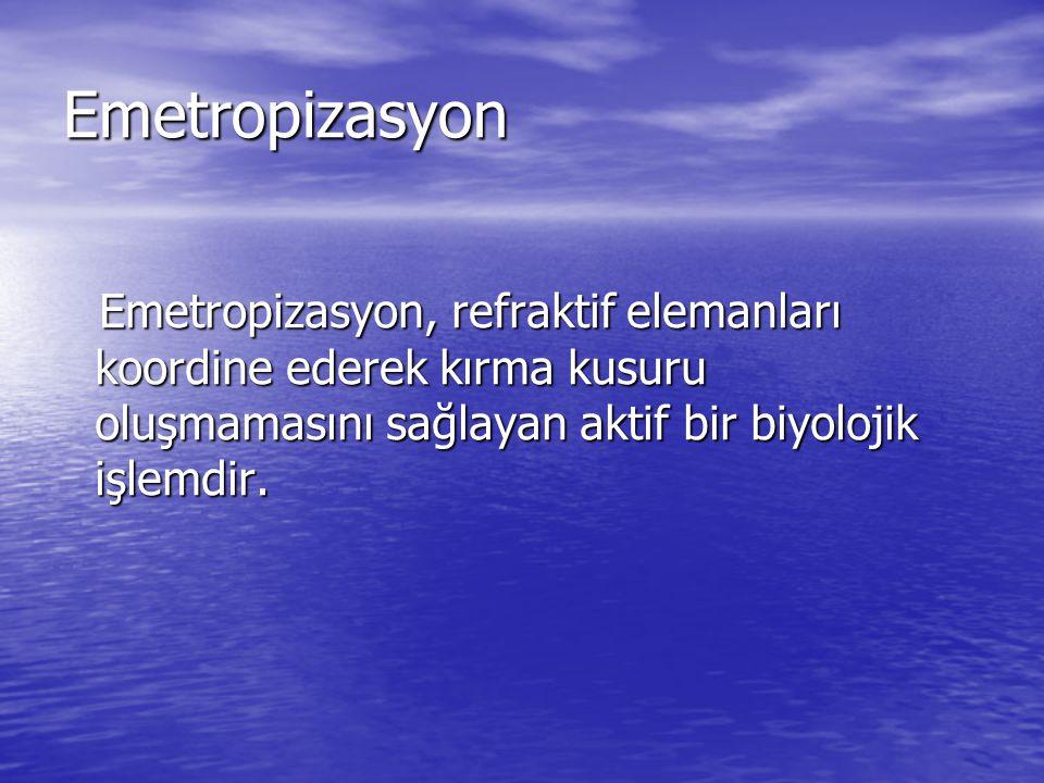 Emetropizasyon Emetropizasyon, refraktif elemanları koordine ederek kırma kusuru oluşmamasını sağlayan aktif bir biyolojik işlemdir.